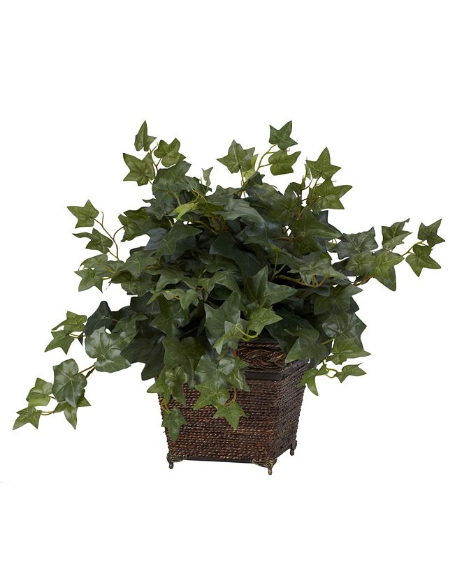 Nearly Natural Puff Ivy w/ Coiled Rope Planter Silk Plant