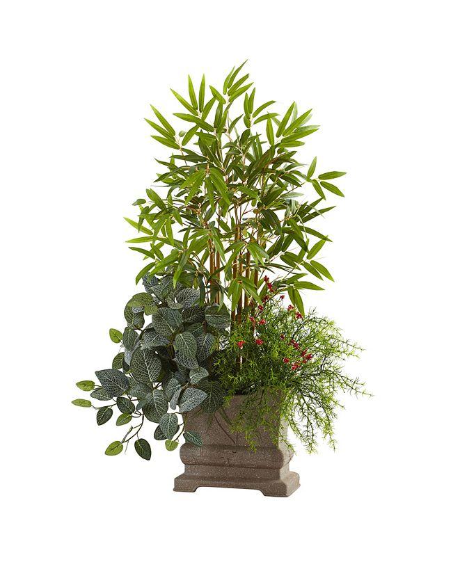 "Nearly Natural 38"" Mixed Mini Bamboo, Fittonia and Springeri w/ Planter"