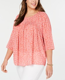 MICHAEL Michael Kors Plus Size Painterly Reef Flowy Top