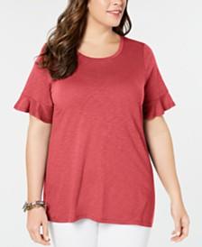 MICHAEL Michael Kors Plus Size Textured Ruffle-Sleeve T-Shirt