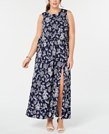 6228c8ae649 MICHAEL Michael Kors Plus Size Printed Lace-Up Maxi Dress