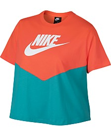 Nike Plus Size Heritage Colorblocked Cropped Top