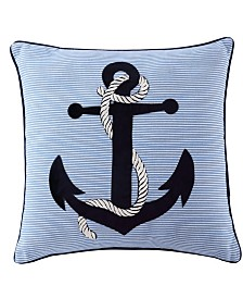 Anchor Embroidered 18x18 Pillow