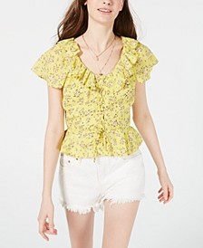 Juniors' Printed Lace-Up Peplum Blouse