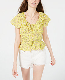 Planet Gold Juniors' Printed Lace-Up Peplum Blouse