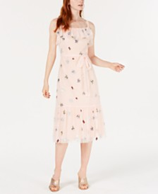 Betsey Johnson Petite Embroidered Bugs Midi Dress