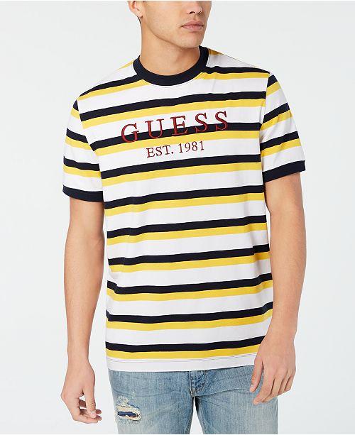 hög kvalitet heta produkter olika färger GUESS Men's Striped Logo T-Shirt & Reviews - T-Shirts - Men - Macy's