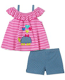 Little Girls 2-Pc. Striped Turtle Top & Dot-Print Shorts Set