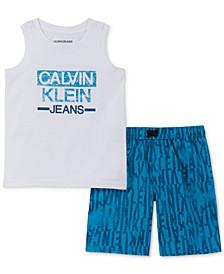 Toddler Boys 2-Pc. Logo Tank & Microsuede Swim Shorts Set
