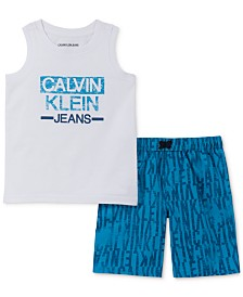 Calvin Klein Little Boys 2-Pc. Logo Tank & Microsuede Swim Shorts Set