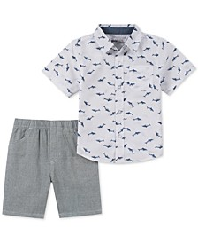 Little Boys 2-Pc. Shark-Print Shirt & Stripe Oxford Shorts Set