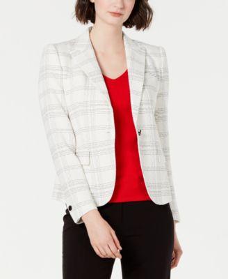 Plaid Single-Button Blazer