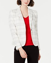 0c7c7fa632 Anne Klein Plaid Single-Button Blazer
