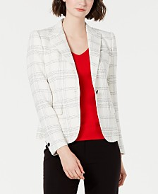 Anne Klein Plaid Single-Button Blazer