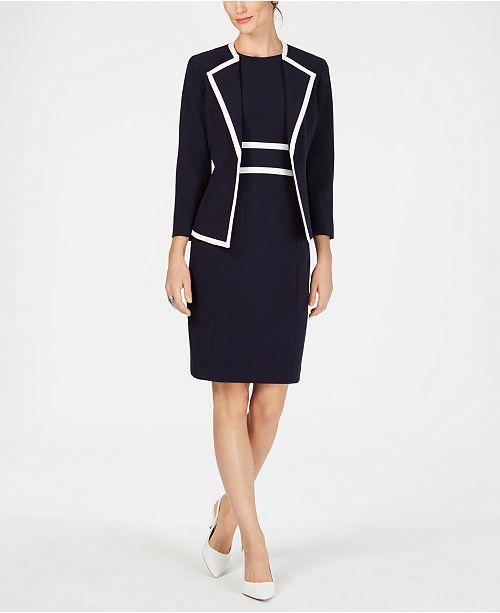 Le Suit Piped Crepe Dress Suit