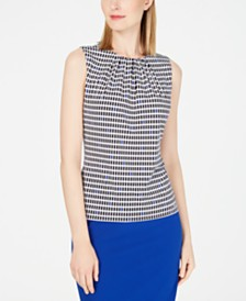 Calvin Klein Petite Printed Pleat-Neck Top