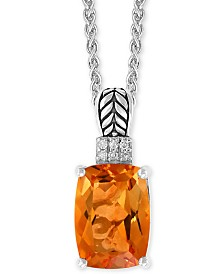 "EFFY® Citrine (3-1/8 ct. t.w.) & Diamond Accent 18"" Pendant Neclace in Sterling Silver"