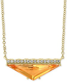 "EFFY® Citrine (2-1/3 ct. t.w.) & Diamond Accent 18"" Pendant Necklace in 14k Gold"