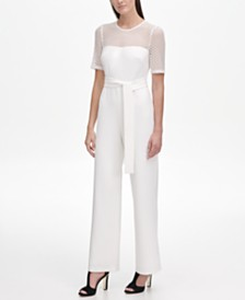 DKNY Lace Yoke and Tie Waist Jumpsuit