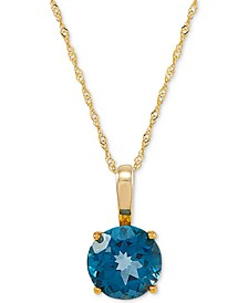"Swiss Blue Topaz (3-3/8 ct.t.w) 18"" Pendant Necklace in 14k Gold"