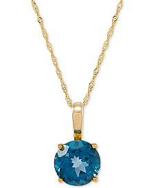 "London Blue Topaz (3-3/8 ct.t.w) 18"" Pendant Necklace in 14k Gold"