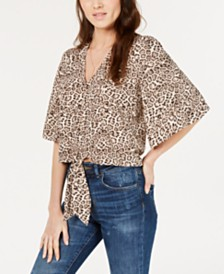 1.STATE Animal-Print Tie-Front Top