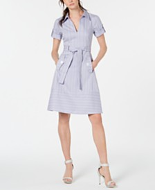 Nanette Lepore Striped Belted Shirtdress
