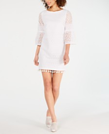 Vince Camuto Cotton Long-Sleeve Eyelet Shift Dress
