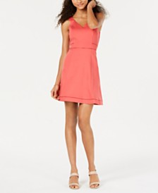 Bar III Crochet-Trim Fit & Flare Dress, Created for Macy's