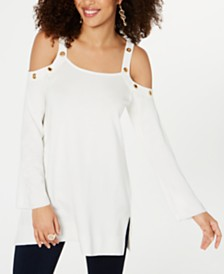 Thalia Sodi Embellished Cold-Shoulder Sweater, Created for Macy's