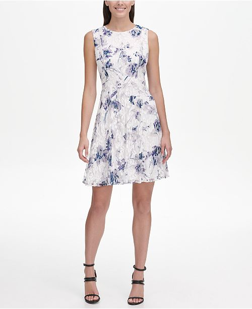 c21879291c9 DKNY Floral Lace Fit   Flare Dress   Reviews - Dresses - Women - Macy s
