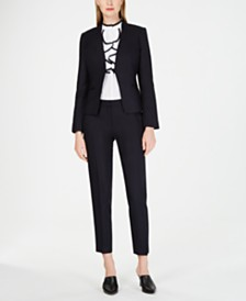 Calvin Klein Petite Open-Front Jacket, Ruffled-Front Top & Button-Back Pants