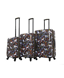 Vicky Yorke Urban Jungle Dogs 3-Pc. Hardside Spinner Luggage Set