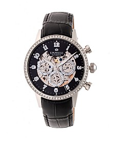 Empress Beatrice Automatic Silver Case, Black Dial, Black Leather Watch 38mm