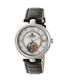 Stella Automatic White Dial, Black Leather Watch 39mm