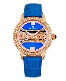 Empress Rania Mechanical Blue Leather Watch 38mm