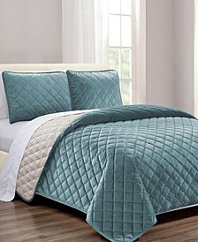 Diamond Quilt 2-Pc. Twin Velvet Coverlet Set