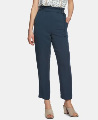 Belted-Waist Tapered-Leg Ankle Pants