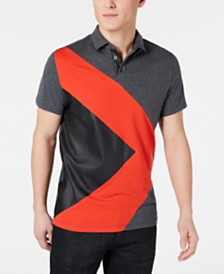I.N.C. Men's Colorblocked Mixed Media Polo, Created for Macy's