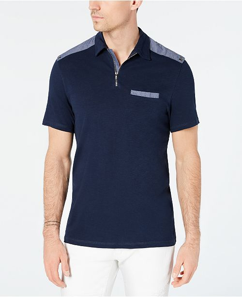 INC International Concepts I.N.C. Men's Chambray Trim Zip Polo, Created for Macy's