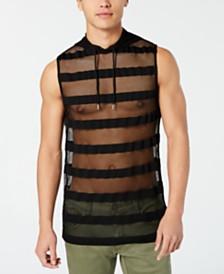 I.N.C. Men's Hooded Striped Mesh Tank, Created for Macy's