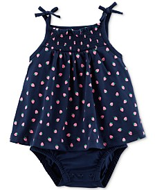 Carter's Baby Girls Cotton Strawberry Sunsuit