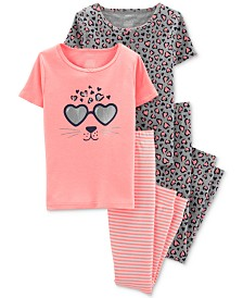 Carter's Little & Big Girls 4-Pc. Printed Pajamas Set