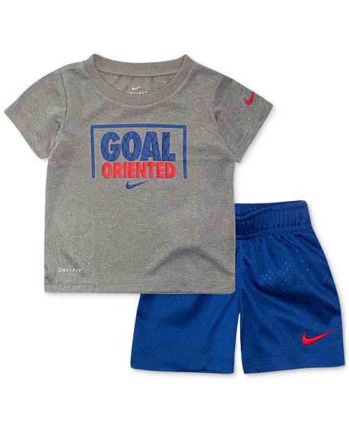 a542ed2573cc Nike Baby Boys 2-Pc. Dri-FIT Goal Oriented Graphic T-Shirt & Shorts ...