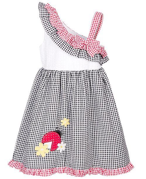 Good Lad Little Girls Ladybug Gingham Seersucker Dress