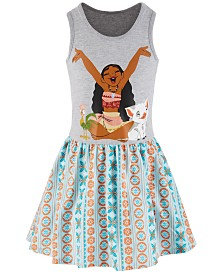 Disney Little Girls Moana Printed Tank Dress, Created for Macy's