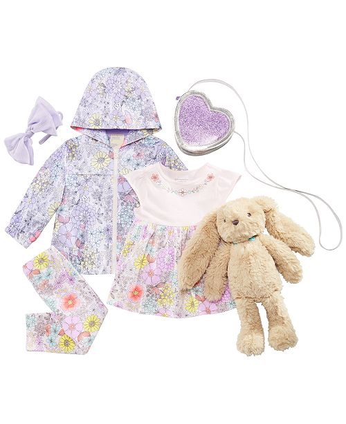 First Impressions Baby Girls Floral-Print Windbreaker, Tunic, Leggings, Purse, Bow & Bunny Rabbit Doll Separates, Created for Macy's