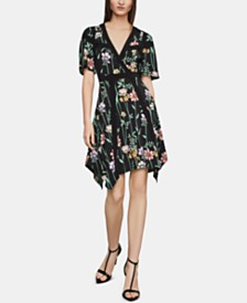 BCBGMAXAZRIA Floral-Print Faux-Wrap Dress