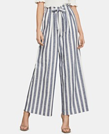 BCBGMAXAZRIA Striped Belted Wide-Leg Pants
