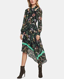 BCBGMAXAZRIA Floral-Print Cutout Midi Dress